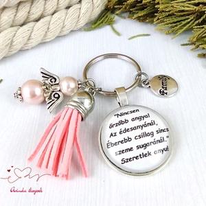 Nincsen őrzőbb angyal feliratos piros bojtos üveglencsés kulcstartó táskadísz karácsony , Táska & Tok, Kulcstartó & Táskadísz, Kulcstartó, Ékszerkészítés, Gyöngyfűzés, gyöngyhímzés, Meska