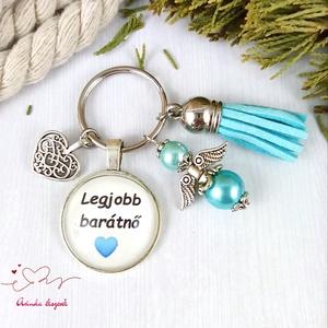 Legjobb barátnő feliratos üveglencsés kulcstartó táskadísz kék angyallal és bojttal karácsony szülinap névnap - táska & tok - kulcstartó & táskadísz - kulcstartó - Meska.hu