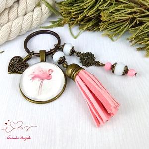 Csini flamingó rózsaszín bojtos üveglencsés kulcstartó táskadísz bojtos nyár mikulás karácsony szülinap névnap ajándék  - táska & tok - kulcstartó & táskadísz - táskadísz - Meska.hu