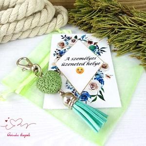 Menta illatosítható lávakő szív kulcstartó táskadísz ajándékcsomagolással  - táska & tok - kulcstartó & táskadísz - táskadísz - Meska.hu