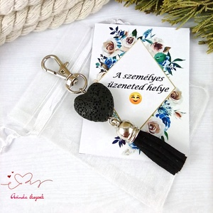 Fekete illatosítható lávakő szív kulcstartó táskadísz ajándékcsomagolással , Táska & Tok, Kulcstartó & Táskadísz, Táskadísz, Ékszerkészítés, Gyöngyfűzés, gyöngyhímzés, Meska