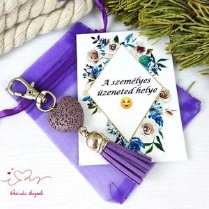 Lila illatosítható lávakő szív kulcstartó táskadísz ajándékcsomagolással , Táska & Tok, Kulcstartó & Táskadísz, Táskadísz, Ékszerkészítés, Gyöngyfűzés, gyöngyhímzés, Meska