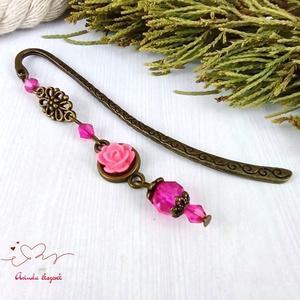 Pink rózsás könyvjelző antik bronz anyák napja ballagás évzáró pedagógus karácsony szülinap névnap könyvmoly ajándék - Meska.hu
