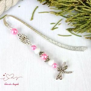Rózsaszín szitakötő könyvjelző anyák napja ballagás évzáró pedagógusnak karácsony szülinap névnap könyvmoly ajándék - Meska.hu