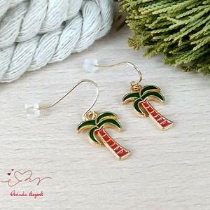 Pálmafa fülbevaló karácsonyra mikulásra télire adventi kalendáriumba nőnek lánynak - ékszer - fülbevaló - lógó fülbevaló - Meska.hu
