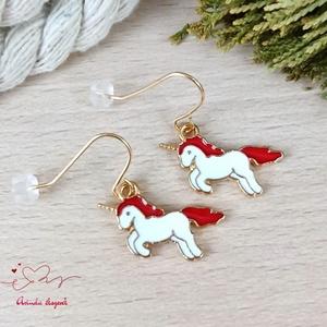 Piros unikornis fülbevaló karácsonyra mikulásra télire adventi kalendáriumba nőnek lánynak - Meska.hu