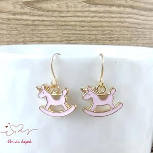 Hintaló rózsaszín fülbevaló karácsonyra mikulásra télire adventi kalendáriumba nőnek lánynak - ékszer - fülbevaló - lógó fülbevaló - Meska.hu