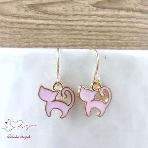 Rózsaszín cica fülbevaló karácsonyra mikulásra télire adventi kalendáriumba nőnek lánynak, Ékszer, Fülbevaló, Lógó fülbevaló, Ékszerkészítés, Gyöngyfűzés, gyöngyhímzés, Meska