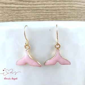 Rózsaszín sellőuszony fülbevaló karácsonyra mikulásra télire adventi kalendáriumba nőnek lánynak, Ékszer, Fülbevaló, Lógó fülbevaló, Ékszerkészítés, Gyöngyfűzés, gyöngyhímzés, Meska