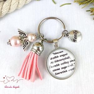 Nincsen őrzőbb angyal feliratos rózsaszín bojtos üveglencsés kulcstartó táskadísz karácsony , Táska & Tok, Kulcstartó & Táskadísz, Kulcstartó, Ékszerkészítés, Gyöngyfűzés, gyöngyhímzés, Meska
