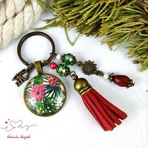 Trópusi éjszaka bordó bojtos üveglencsés kulcstartó táskadísz bojtos nyár mikulás karácsony szülinap névnap ajándék  - Meska.hu