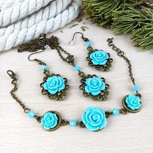 #23 kék rózsás szett nyaklánc fülbevaló karkötő vintage esküvő alkalmi koszorúslány örömanya menyasszony násznagy, Ékszer, Ékszerszett, Ékszerkészítés, Gyöngyfűzés, gyöngyhímzés, Meska