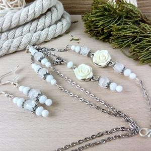 #10 fehér rózsás szett nyaklánc fülbevaló karkötő vintage esküvő alkalmi koszorúslány örömanya menyasszony násznagy, Ékszer, Ékszerszett, Ékszerkészítés, Gyöngyfűzés, gyöngyhímzés, Meska