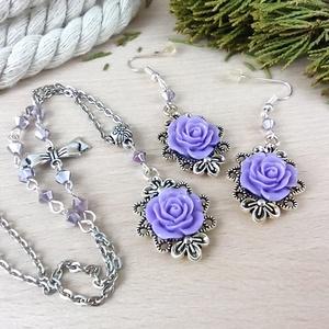 #43 lila rózsás sötét ezüst szett nyaklánc fülbevaló esküvő alkalmi koszorúslány örömanya menyasszony násznagy - Meska.hu