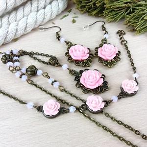#22 rózsaszín rózsás szett nyaklánc fülbevaló karkötő vintage esküvő alkalmi koszorúslány örömanya menyasszony násznagy, Ékszer, Ékszerszett, Ékszerkészítés, Gyöngyfűzés, gyöngyhímzés, Meska