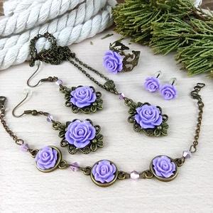 #19 lila rózsás szett nyaklánc fülbevalók karkötő gyűrű esküvő alkalmi koszorúslány örömanya menyasszony násznagy, Ékszer, Ékszerszett, Ékszerkészítés, Gyöngyfűzés, gyöngyhímzés, Meska