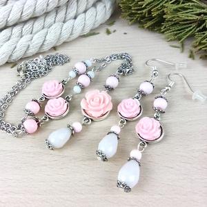 #34 rózsaszín rózsás szett nyaklánc fülbevaló vintage esküvő alkalmi koszorúslány örömanya menyasszony násznagy, Esküvő, Ékszerszett, Ékszer, Ékszerkészítés, Gyöngyfűzés, gyöngyhímzés, Meska
