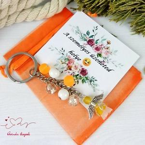 Megvilágosodás narancs angyal kulcstartó táskadísz anyák napja ballagás évzáró pedagógus karácsony szülinap névnap - táska & tok - kulcstartó & táskadísz - kulcstartó - Meska.hu