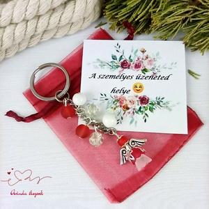 Védelmező piros angyal kulcstartó táskadísz anyák napja ballagás évzáró pedagógus karácsony szülinap névnap - táska & tok - kulcstartó & táskadísz - kulcstartó - Meska.hu