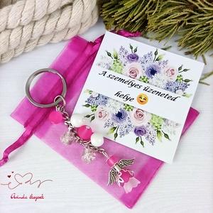 Fiatalság pink angyal kulcstartó táskadísz anyák napja ballagás évzáró pedagógus karácsony szülinap névnap - táska & tok - kulcstartó & táskadísz - kulcstartó - Meska.hu
