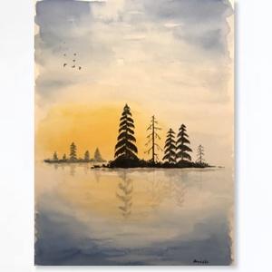 A sziget, Művészet, Festmény, Akvarell, Festészet, Kiváló minőségű, 300g/m2-es akvarell papírra készült festmény. A kép mérete 24*32 cm. Nem print. A k..., Meska