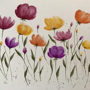 Tavaszi virágok, Művészet, Festmény, Akvarell, Festészet, Kiváló minőségű, 300g/m2-es akvarellpapírra festett tavaszi virágok. A kép mérete 32*24 cm. Nem prin..., Meska