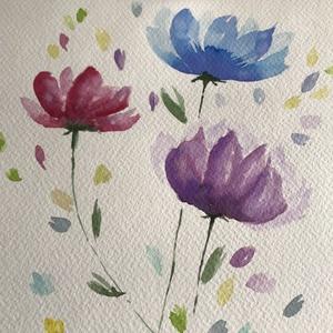 Vidám színesek, Művészet, Festmény, Akvarell, Festészet, Kiváló minőségű, 300g/m2-es akvarellpapírra festett virágok. A4-es méretű kép. Nem print. A keret ne..., Meska