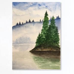 A tó, Művészet, Festmény, Akvarell, Festészet, Kiváló minőségű, 300g/m2-es akvarellpapírra festett kép. A kép mérete A4-es. Nem print. A keret nem ..., Meska