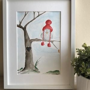 Mókás madár, Művészet, Festmény, Akvarell, Festészet, Kiváló minőségű, 300g/m2-es, A4-es méretű akvarellpapírra festett kedves kis képecske. Gyerekszobába..., Meska