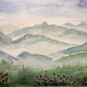 Akvarell - Tavaszi hegyek, Művészet, Festmény, Akvarell, Festészet, Kiváló minőségű, 300g/m2-es akvarellpapírra festett kép. Erdeti, nem nyomat. Mérete 24x32 cm. A kere..., Meska
