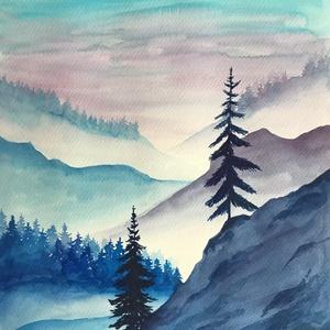 Akvarell hegyek (30x40cm), Művészet, Festmény, Akvarell, Festészet, Kiváló minőségű, 300g/m2-es akvarellpapírra festett kép. Eredeti, nem nyomat. A kép mérete 30x40 cm...., Meska