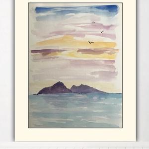 Akvarell minimál naplemente (30x40cm), Művészet, Festmény, Akvarell, Festészet, Kiváló minőségű 300g/m2-es akvarellpapírra festett minimál naplemente. Eredeti, nem print. A kép mér..., Meska