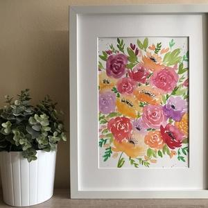 Akvarell virágok, Művészet, Festmény, Akvarell, Festészet, Kiváló minőségű, 300g/m2-es akvarellpapírra festett virágok. Erdeti, nem nyomat. Mérete 24x32 cm. A ..., Meska