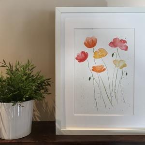 Mákvirágok - akvarell, Művészet, Festmény, Akvarell, Festészet, Kiváló minőségű, 300g/m2-es akvarellpapírra festett színes mákvirágok. A kép mérete 32*24 cm. A kere..., Meska