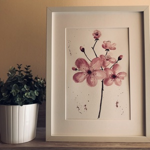 Nyíló tavasz - eredeti akvarell, Művészet, Festmény, Akvarell, Festészet, Kiváló minőségű, 300g/m2-es akvarellpapírra festett cseresznyefa virágok. A kép mérete 32*24 cm. A k..., Meska