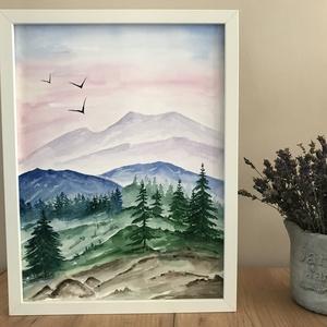 Tavasz a hegyekben - akvarell, Művészet, Festmény, Akvarell, Festészet, Kiváló minőségű, 300g/m2-es akvarellpapírra festett kép. Eredeti, nem nyomat. A kép mérete 30x40 cm...., Meska