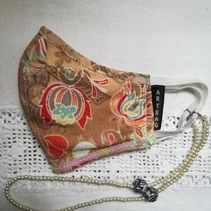 ARTbag-designer maszk lánccal, Maszk, Arcmaszk, Női, Varrás, Egyedi tervezésű designer maszk,gyöngy nyakbaakasztóval.\nMérete:,középen 14,5 cm,szélessége:középen ..., Meska