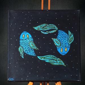 Halak (Pisces) különleges, egyedi tervezésű akril festmény, 40x40cm, Művészet, Akril, Festmény, Halak (Pisces)  különleges, négyzet alakú, akril festmény, az egyedi tervezésű asztrológiai sorozat ..., Meska