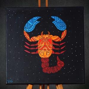 Skorpió (Scorpio) különleges, egyedi tervezésű akril festmény, 40x40cm, Művészet, Akril, Festmény, Skorpió (Scorpio) különleges, négyzet alakú, akril festmény, az egyedi tervezésű asztrológiai soroza..., Meska