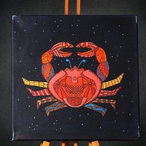 Rák (Cancer) különleges, egyedi tervezésű akril festmény, 40x40cm (Artbuda) - Meska.hu