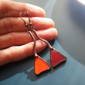 Bolondos háromszögek üvegékszer fülbevaló - Meska.hu