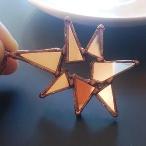 Visszatükröződés tükör medál, Ékszer, Nyaklánc, Medál, Ékszerkészítés, Üvegművészet, Extravagáns medál, nagyon feltűnő, nagyon egyedi. A háromszög formákat tükörből vágtam ki és forrasz..., Meska