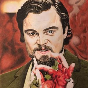 Django elszabadul, Otthon & lakás, Dekoráció, Kép, Képzőművészet, Grafika, Rajz, Fotó, grafika, rajz, illusztráció, Leonardo DiCaprio portréja a Django elszabadul c. filmből. \nSzínes ceruzával készült A4 méretű lapra..., Meska