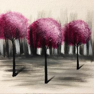 """Lila fák print A4, Művészet, Művészi nyomat, Fotó, grafika, rajz, illusztráció, """"Lila fák"""" festményem nyomata A4 méretben, szignózva.\nLap tulajdonságai: 300g/nm súly, matt hatás, 3..., Meska"""