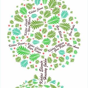 EGYEDI családfa grafikai ábrázolása, Dekoráció, Otthon & lakás, Kép, Képzőművészet, Grafika, Fotó, grafika, rajz, illusztráció, Saját tervezésű digitális grafika, családfa illusztráció, minden esetben egyedi családfa adatok alap..., Meska