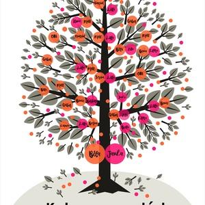 Egyedi családfa grafika , Grafika & Illusztráció, Művészet, Fotó, grafika, rajz, illusztráció, Saját tervezésű digitális grafika, családfa illusztráció, minden esetben egyedi családfa adatok alap..., Meska