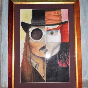 Jonny Depp 4karaktere, Képzőművészet, Otthon & lakás, Grafika, Vegyes technika, Festészet, Jonny Depp 4karaktere.\nGrafika portré, vegyestekhnikával papírra készült, akvarel, pasztel, ceruza r..., Meska