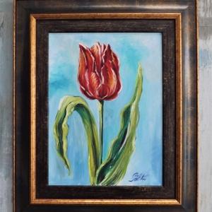 """Egy szál tulipán, Képzőművészet, Otthon & lakás, Festmény, Akril, Festészet, \""""Egy szál tulipán\""""\n\nmérete:30x40cm.\nkeretezett mérete: 48x58cm.\nAkasztóval ellátott, azonnal falra a..., Meska"""