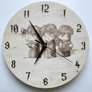 Harry Potter óra, Otthon & Lakás, Dekoráció, Függődísz, Fotó, grafika, rajz, illusztráció, Harry Potter falióra, kézzel, pirográf technikával készült.\nÁtmérő: 25 cm.\nEgyedi mintás óra is kérh..., Meska