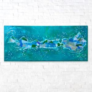 Balaton / egyedi vászon festmény / hologramos / balaton kedvelőknek, Művészet, Festmény, Festmény vegyes technika, Legkedveltebb nyaralóhelyem a Balaton, melyet hologramos papírokkal és gesztusvonalakkal, festőien ö..., Meska